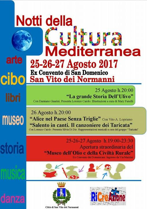 """San Vito dei Normanni, """"Notti della Cultura Mediterranea"""", 25/ 26/27 agosto: i protagonisti dell'evento tra letteratura, musica e tradizione"""