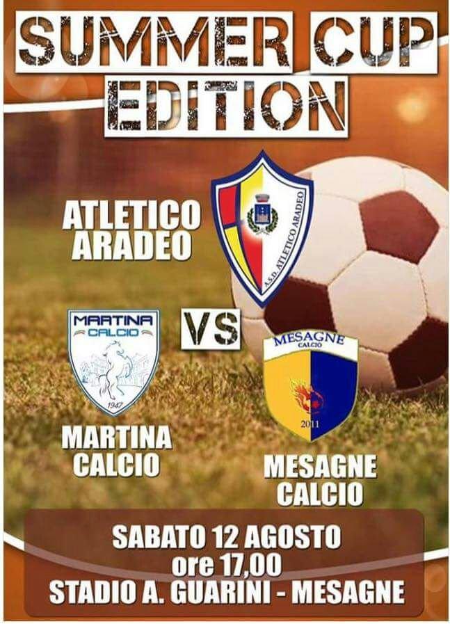 """Mesagne Calcio, Domani la prima """"Summer Cup Edition"""" triangolare con Aradeo e Martina"""