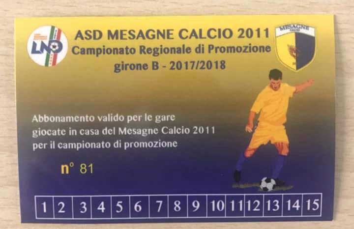 Mesagne Calcio, al via la campagna abbonamenti