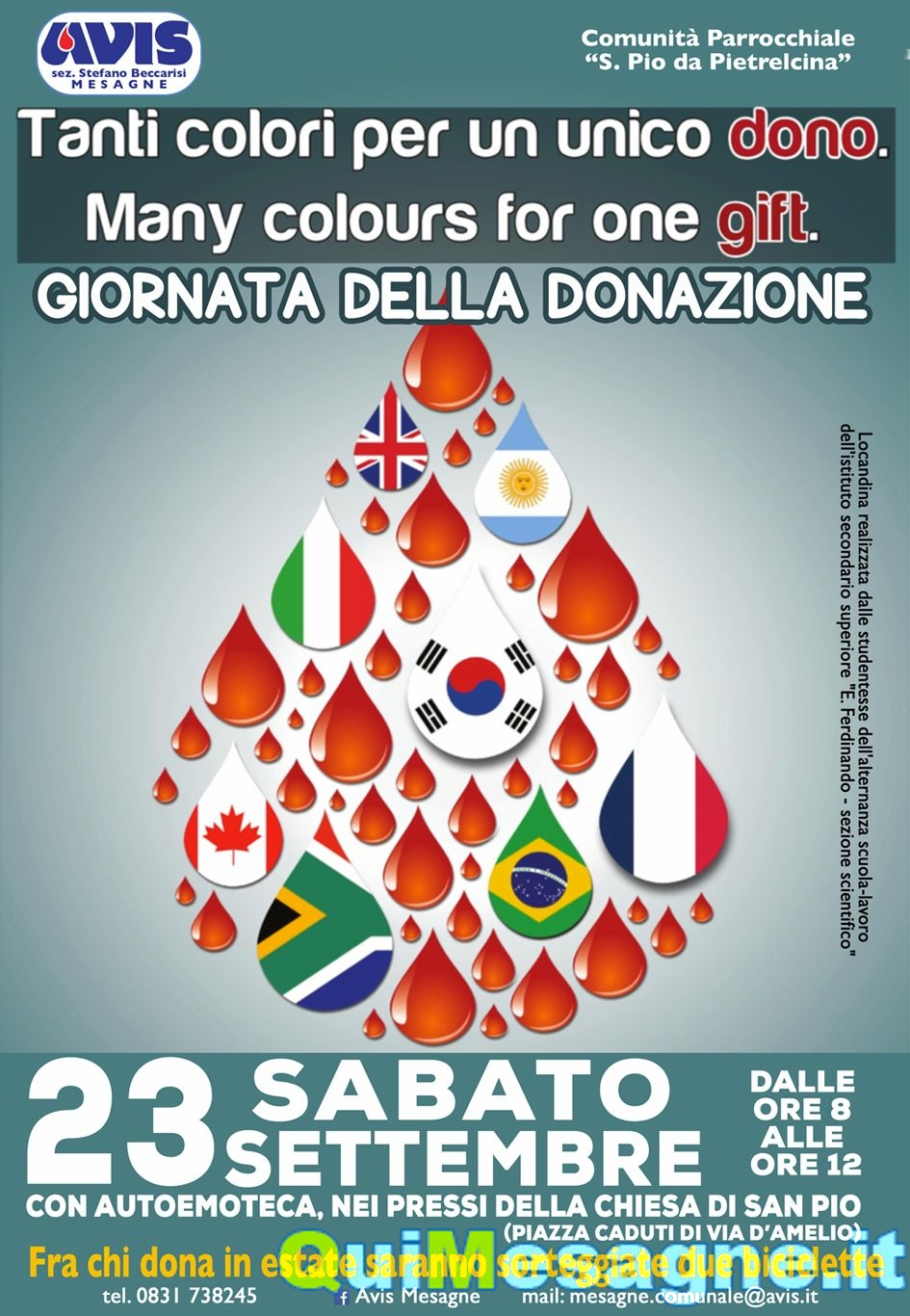 Sabato 23, donazione del sangue a cura dell'AVIS in occasione della Festa di San Pio