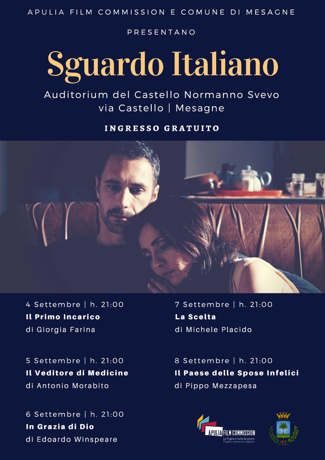 """""""SGUARDO ITALIANO"""", AL CASTELLO CINQUE PROIEZIONI D'AUTORE  CON APULIA FILM COMMISSION"""