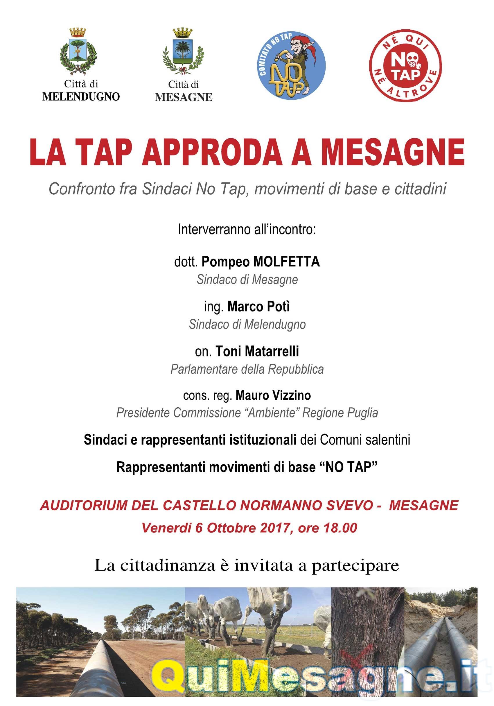 """Domani Venerdì 6 ottobre, manifestazione pubblica: """"La Tap approda a Mesagne"""""""