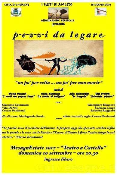 """""""Pezzi da legare"""", stasera nell'Atrio del Castello con i """"Resti di Amleto"""""""