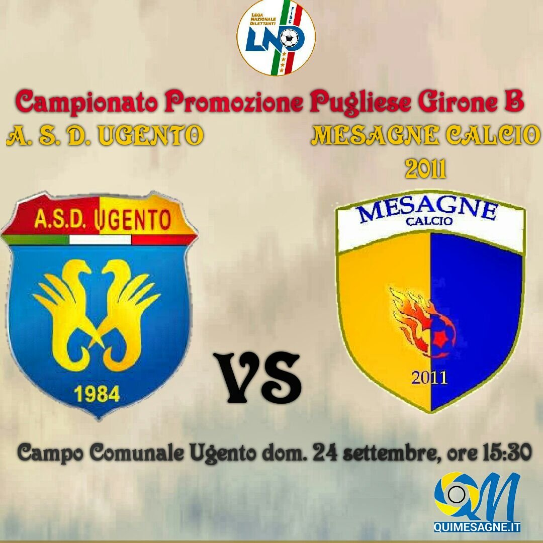 Mesagne Calcio, domenica si va ad Ugento. Trasferta da non sottovalutare