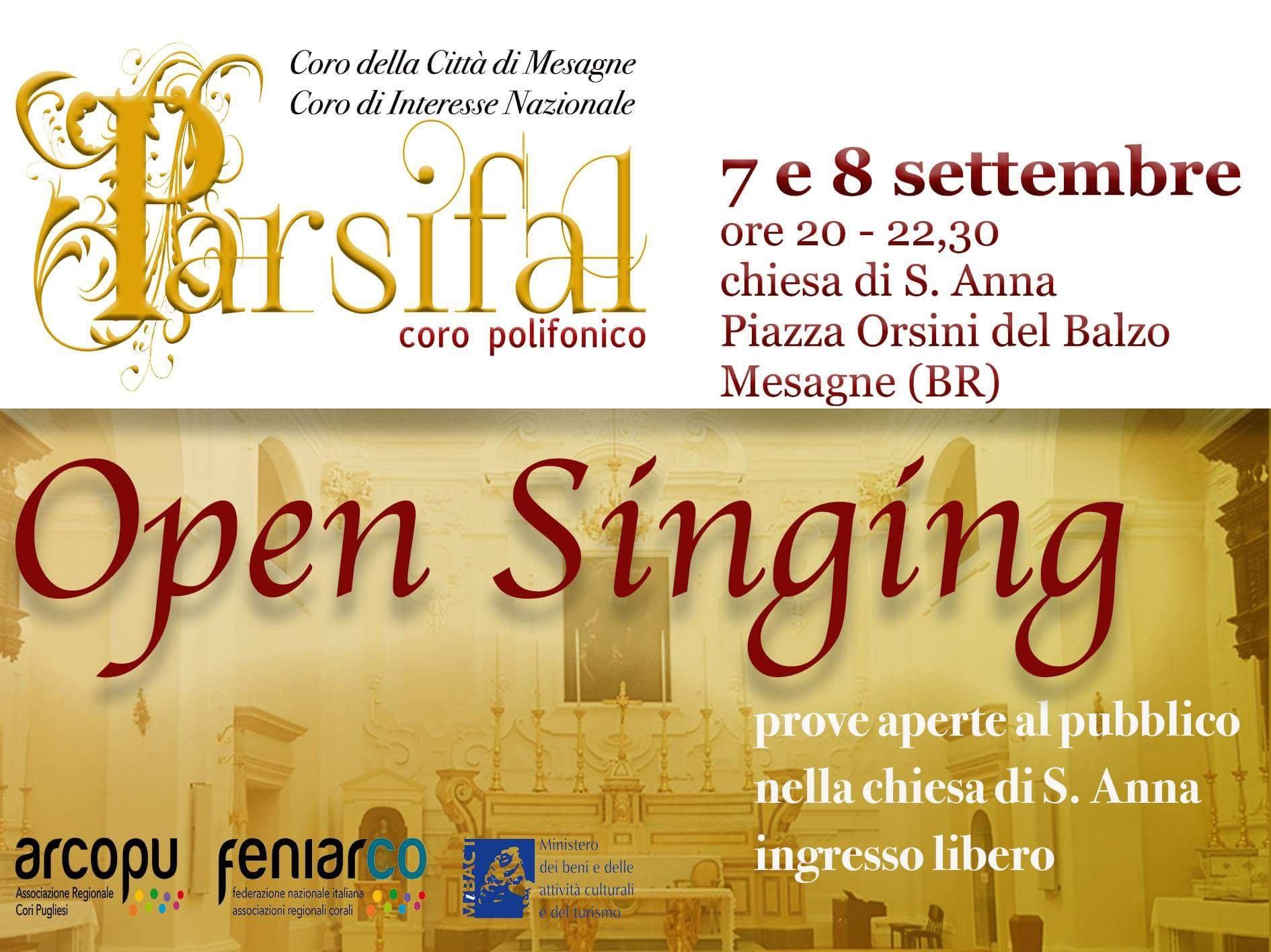 Il 7 e l'8 settembre Open Singing con il Parsifal