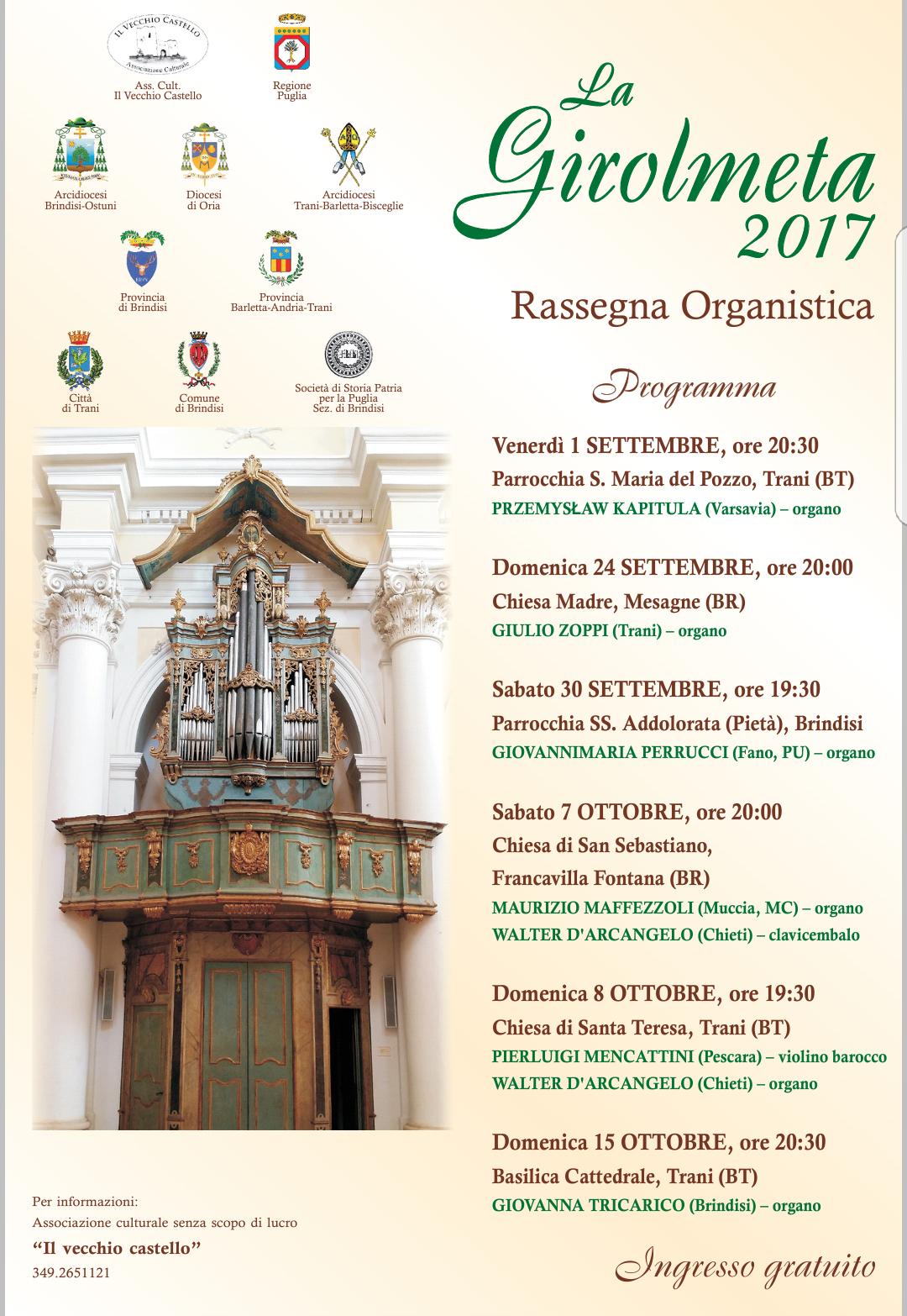 La Girolmeta 2017, domenica in Chiesa Madre concerto per organo