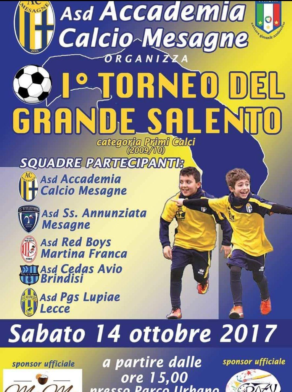 """Asd Accademia Calcio Mesagne, sabato 14 ottobre """"I° Torneo del Grande Salento"""""""
