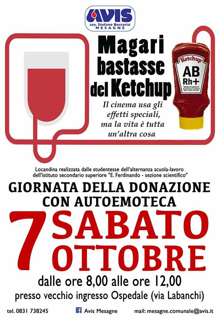 """""""Magari bastasse del Ketchup"""", sabato 7 ottobre donazione del sangue"""