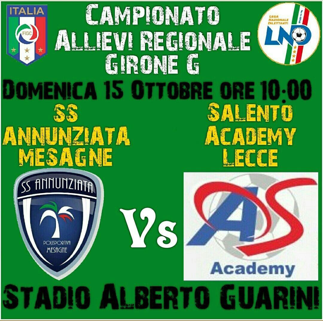 Allievi Regionali, la SS. ANNUNZIATA ospita il Academy Salento Lecce