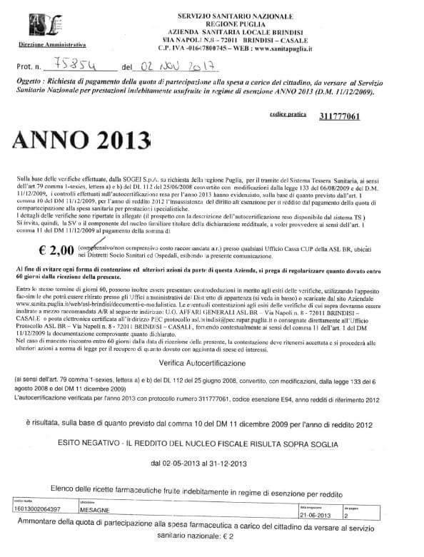 La Asl rivuole da una 86enne i due euro della ricetta del 2013 – Vergognoso!