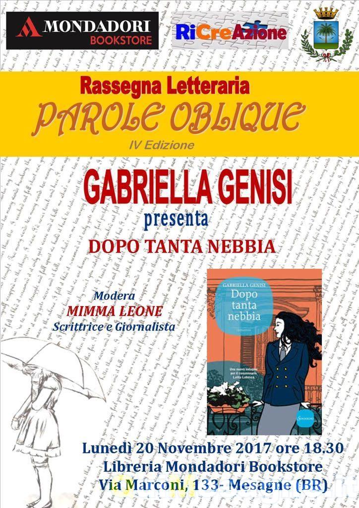 """Oggi a Mesagne Gabriella Genisi con """"Dopo tanta nebbia"""""""