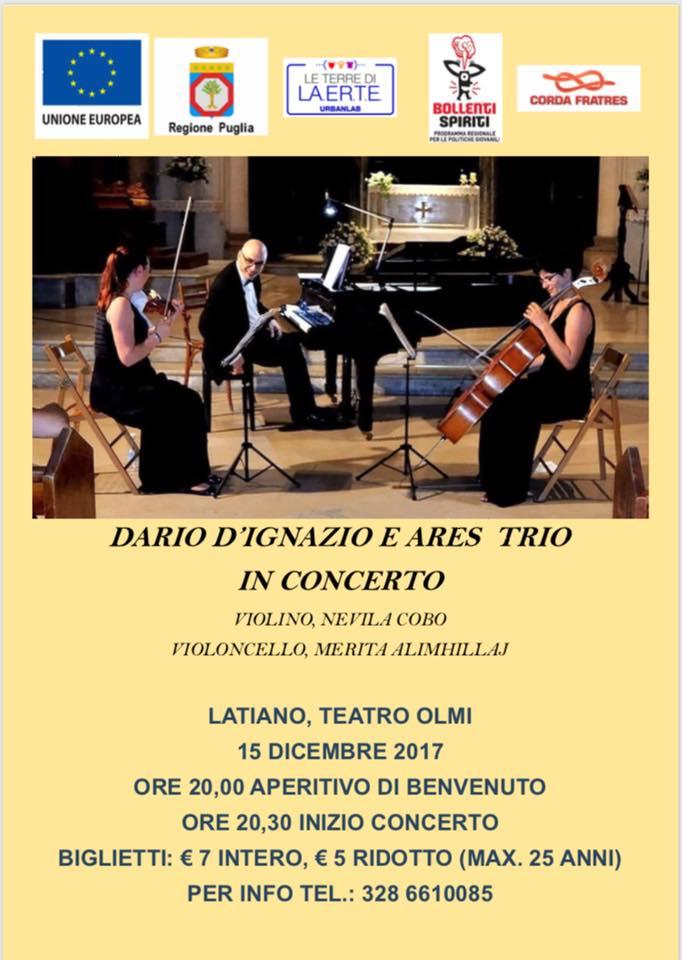 Venerdì 15 dicembre al Teatro Olmi di Latiano concerto di Dario D'Ignazio e Ares Trio