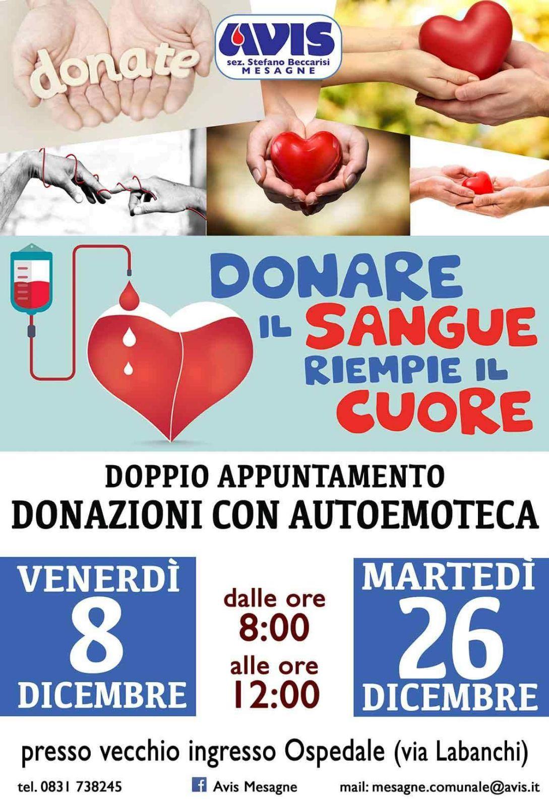 Avis, donazione del sangue venerdì 8 dicembre