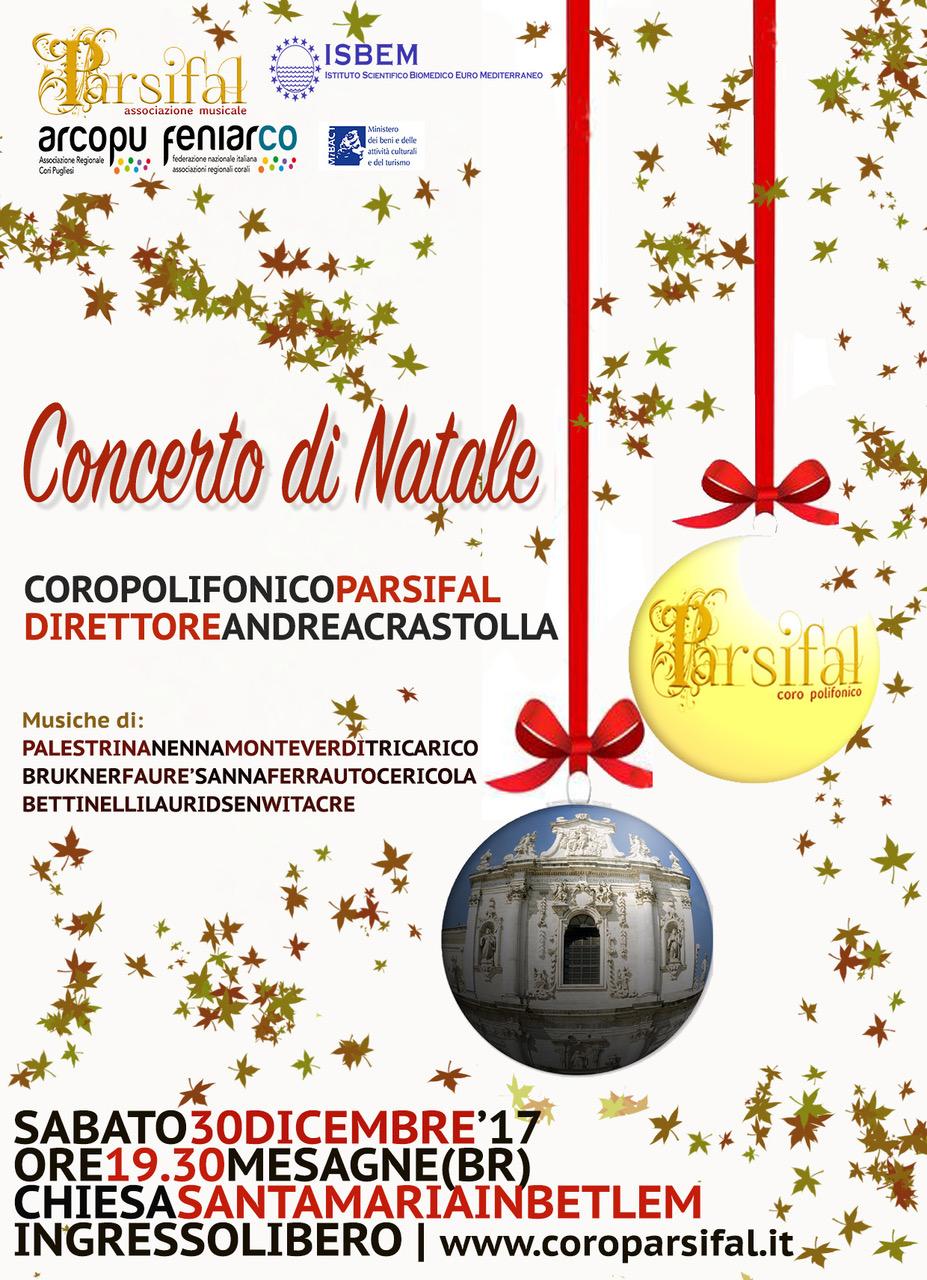 Sabato 30 dicembre Concerto di Natale del Coro Parsifal