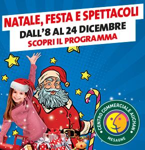 Festa e spettacoli per Natale al Centro Commerciale Auchan