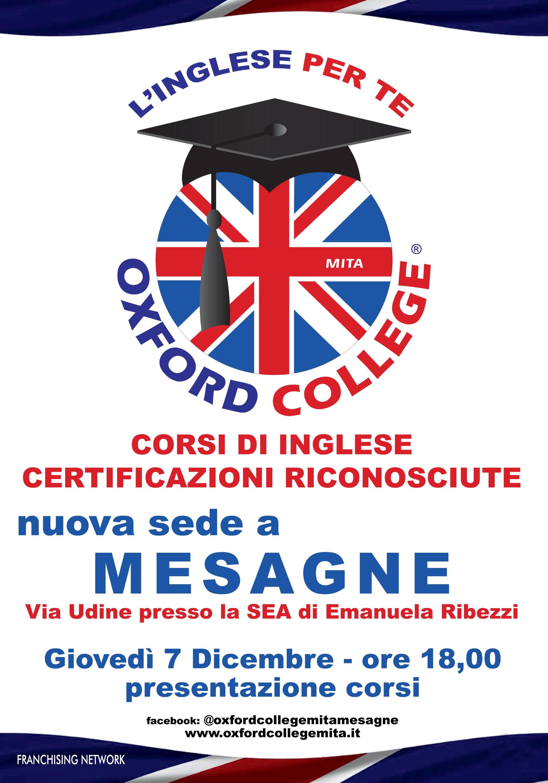 Domani 7 Dicembre a Mesagne si inaugura la nuova sede dell'Oxford College Mita