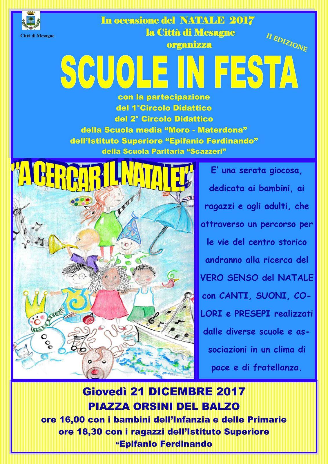 """Giovedì 21 dicembre al via """"Scuole in Festa"""""""