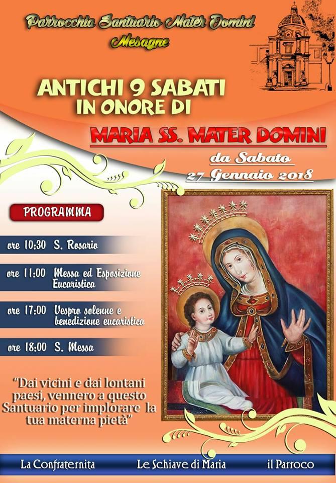 Sabato 27 gennaio inizia il percorso in preparazione alla Festa di Mater Domini