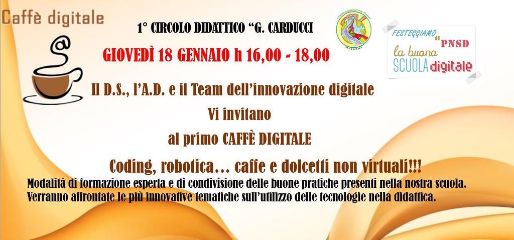 """Giovedì 18 gennaio Open Day, Caffè digitale al 1° Circolo """"Carducci"""" di Mesagne"""