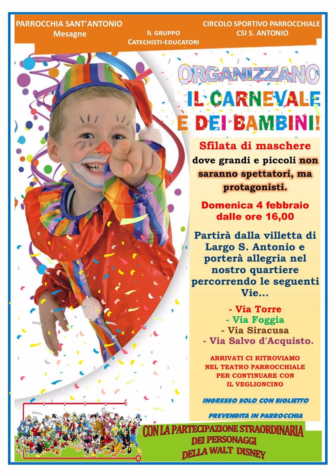 La Parrocchia di Sant'Antonio organizza sfilata in maschera e Carnevale dei Bambini