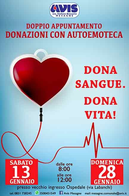 Avis, Domenica 28 gennaio donazione del Sangue
