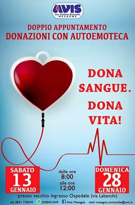 Avis, Doppia donazione del sangue 13 e 28 gennaio