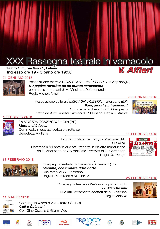 """Rassegna teatrale in Vernacolo a Latiano, Domenica 28 gennaio arriva """"Misciagni Nuestru"""""""