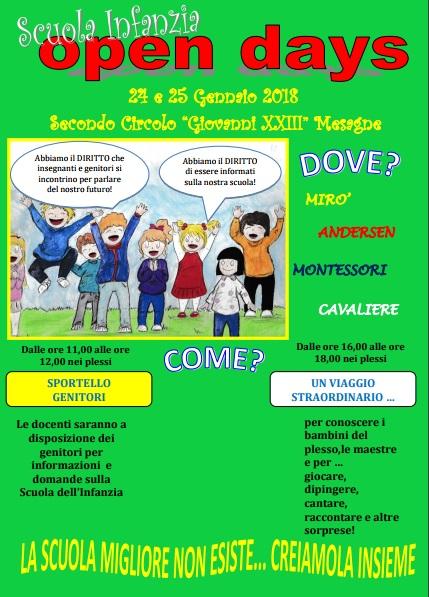 Scuola Infanzia, il 24 e 25 gennaio Open Days del 2° Circolo