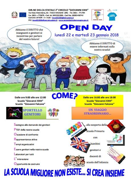 Lunedì 22 e martedì 23 gennaio Open Day del II° Circolo Didattico