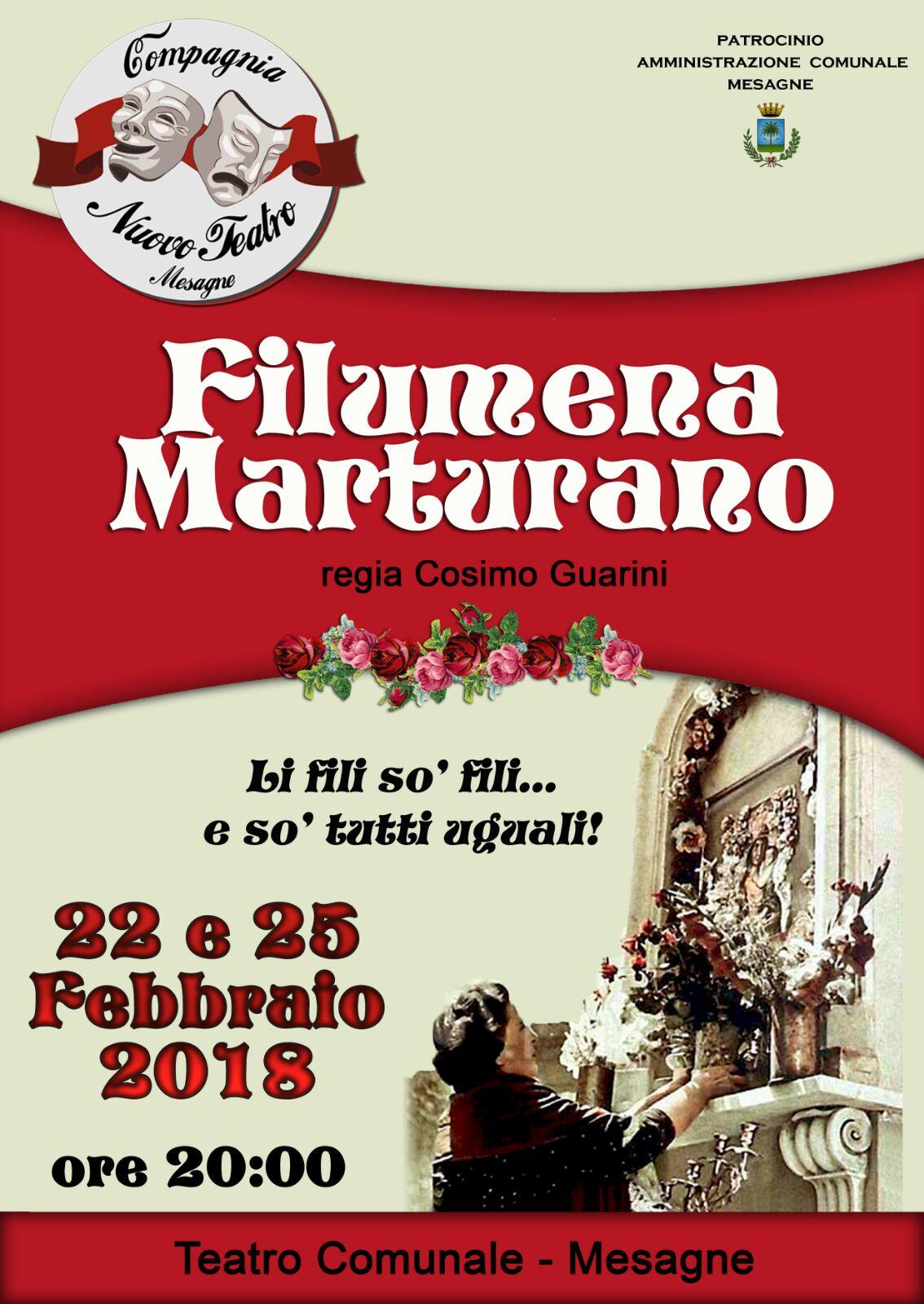 """Un altro lavoro della Compagnia Nuovo Teatro, """"Filumena Marturano"""" il 22 e 25 febbraio"""