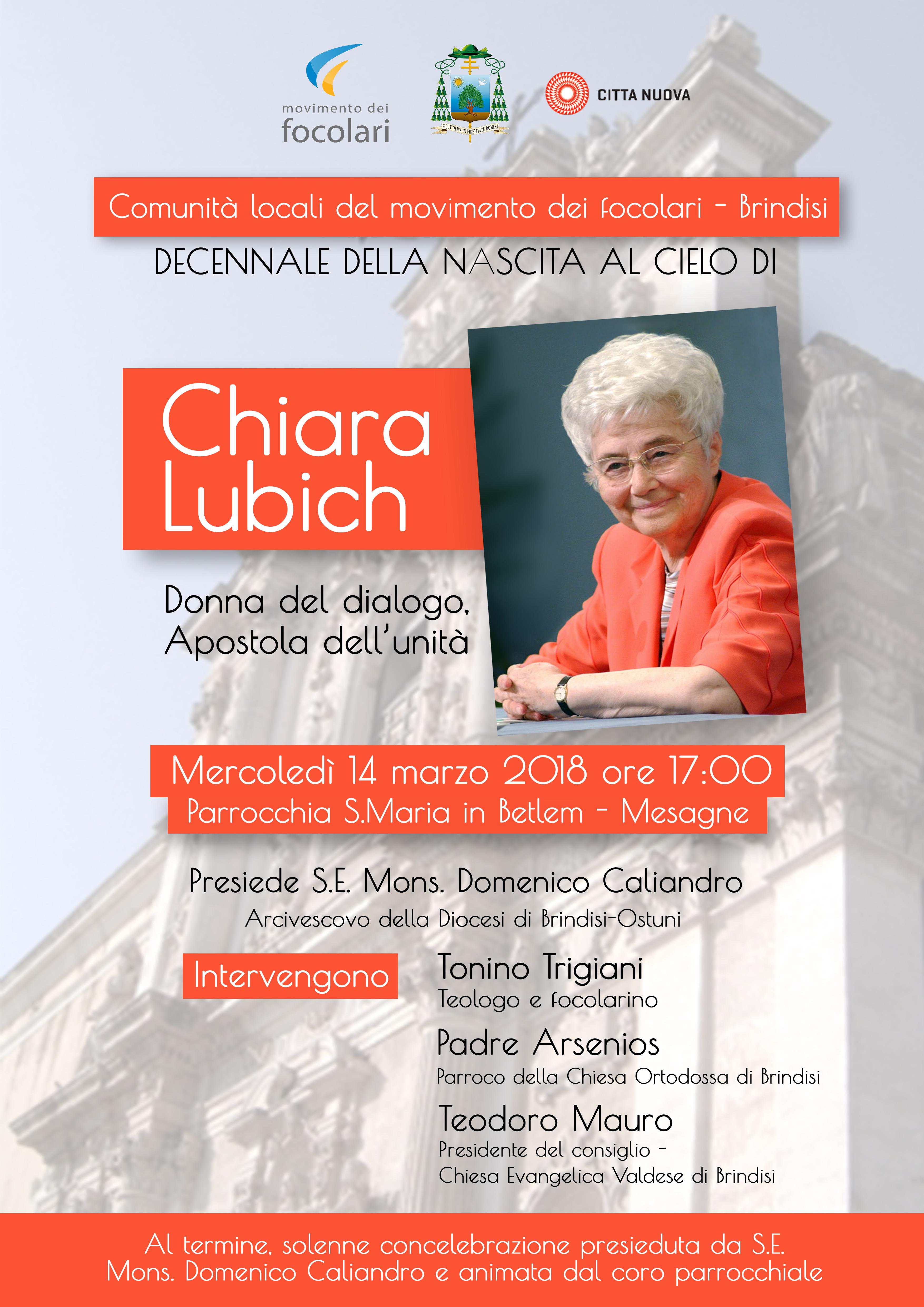 Il 14 Marzo Convegno per ricordare Chiara Lubich
