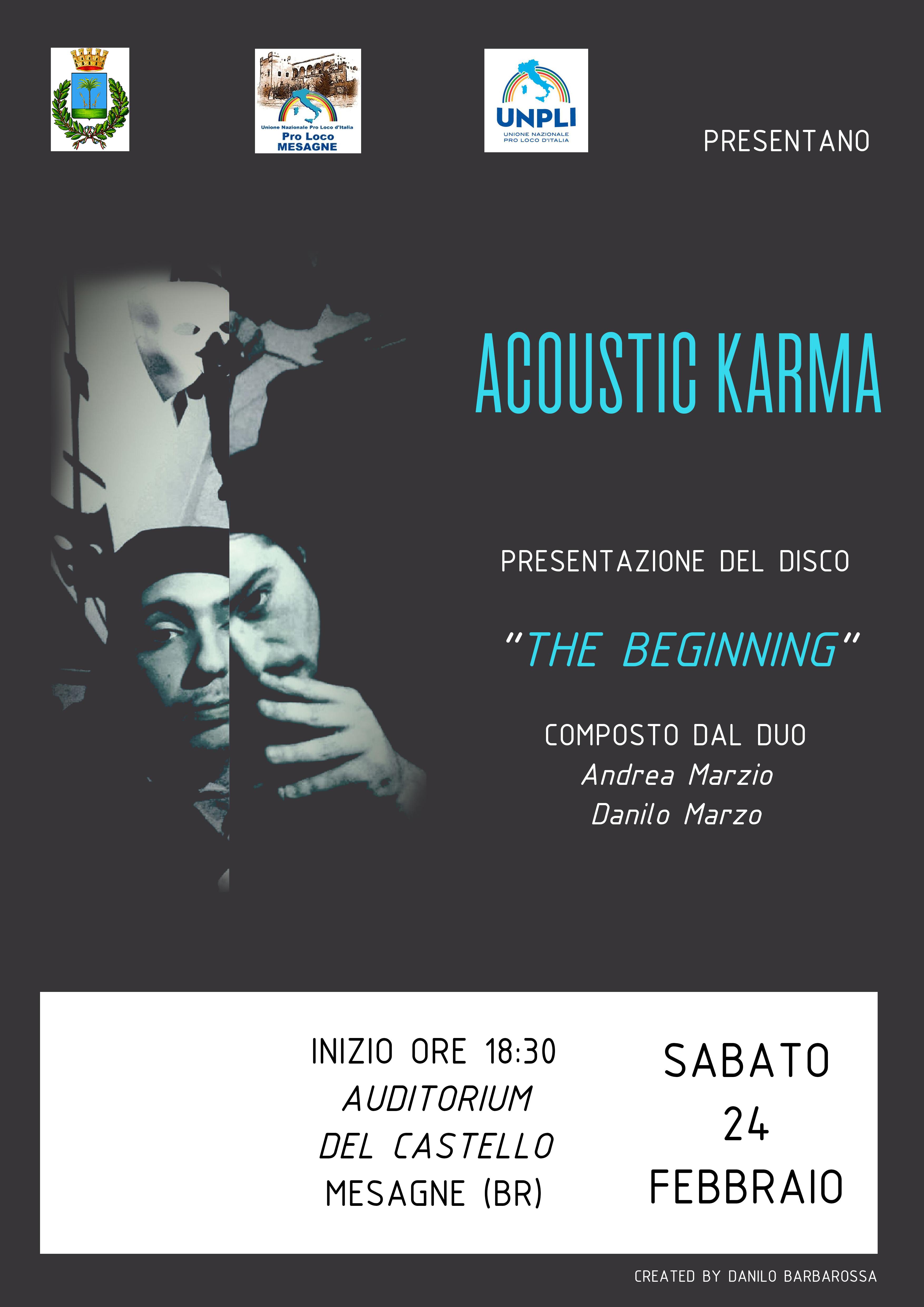 "Sabato 24 febbraio presentazione del lavoro discografico del duo ""Acoustic Karma"""