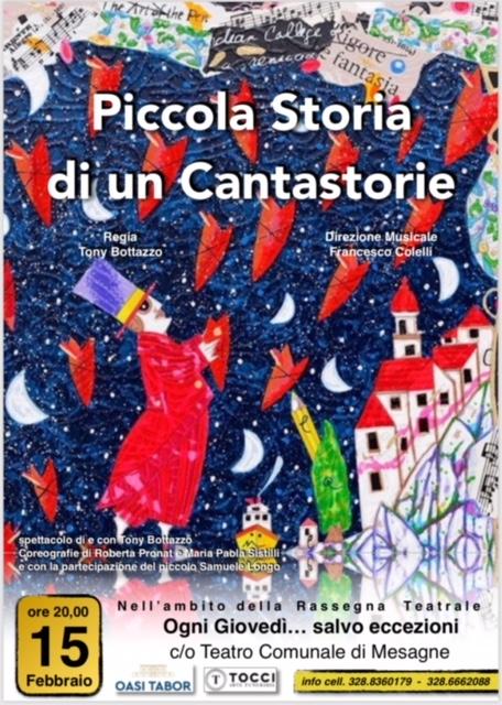 """Giovedì 15 febbraio al teatro comunale: """"Piccola storia di un Cantastorie"""""""