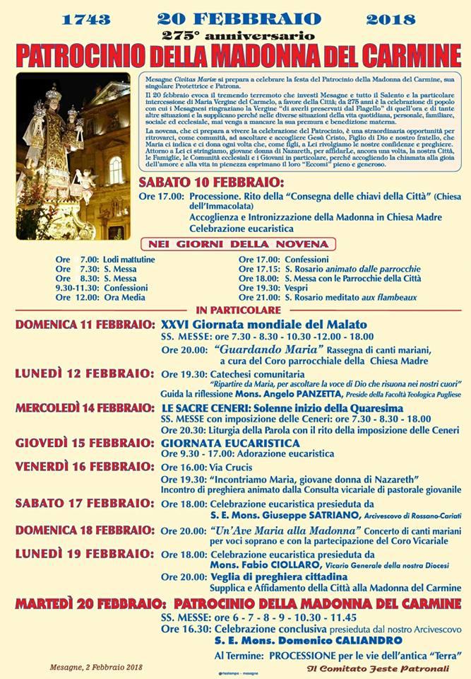 Patrocinio della Madonna del Carmine, ecco il programma per la novena