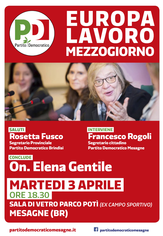 Europa Lavoro Mezzogiorno. Il 3 aprile con Elena Gentile