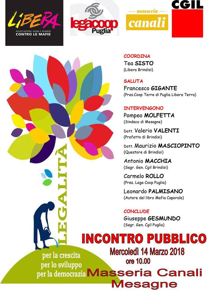 Legalità: mercoledì 14 incontro a Masseria Canali organizzato da Libera Brindisi e Cgil Brindisi