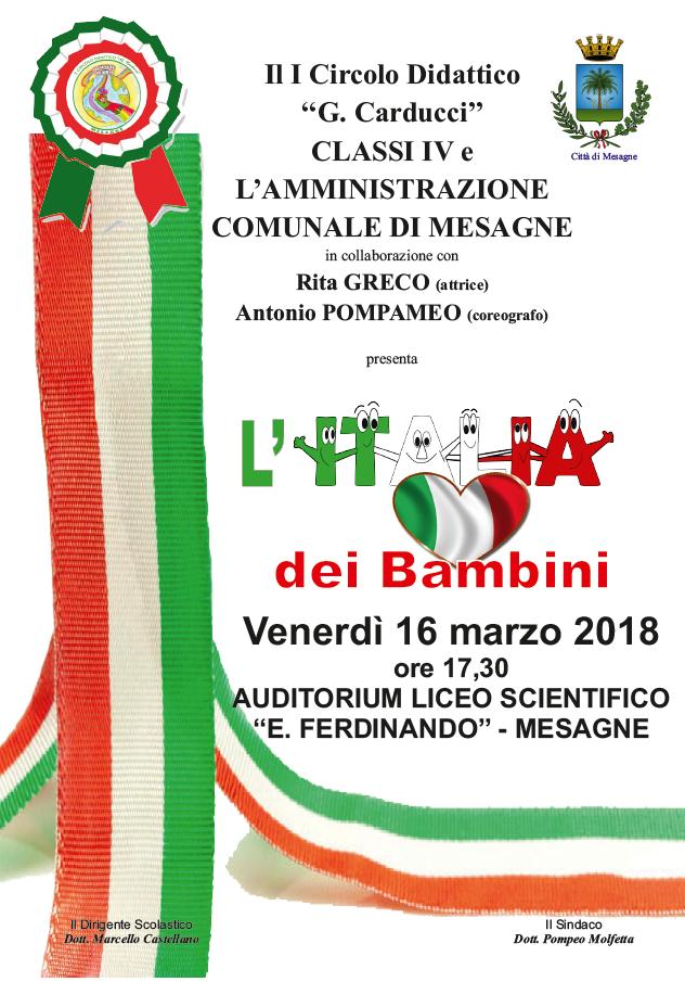 FESTA UNITÀ D'ITALIA 2018, SPETTACOLO CON LE SCUOLE DELLA CITTÀ