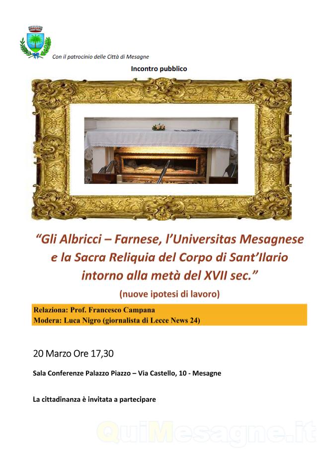 Martedi 20 Marzo, incontro sulla storia di Mesagne e la reliquia di S. Ilario