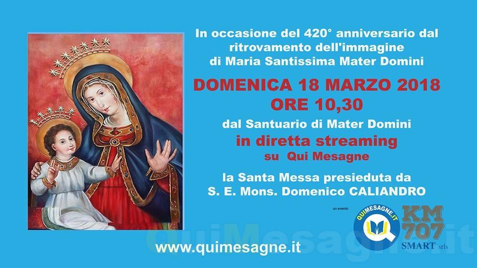 Celebrazione Eucaristica in occasione del 420° anniversario del ritrovamento del quadro di Mater Domini
