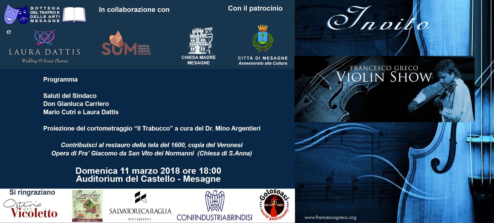 """Domenica 11 marzo """"Violin Show"""""""