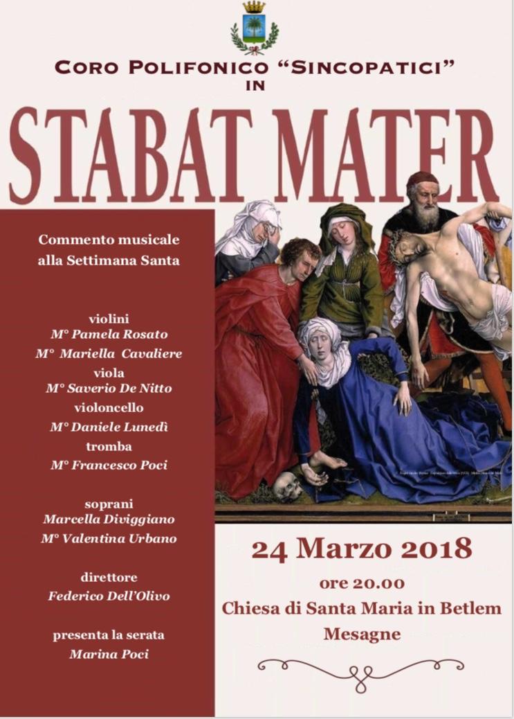 """Sabato 24 marzo nella Chiesa di Santa Maria """"Stabat Mater"""" del Coro polifonico Sincopatici"""
