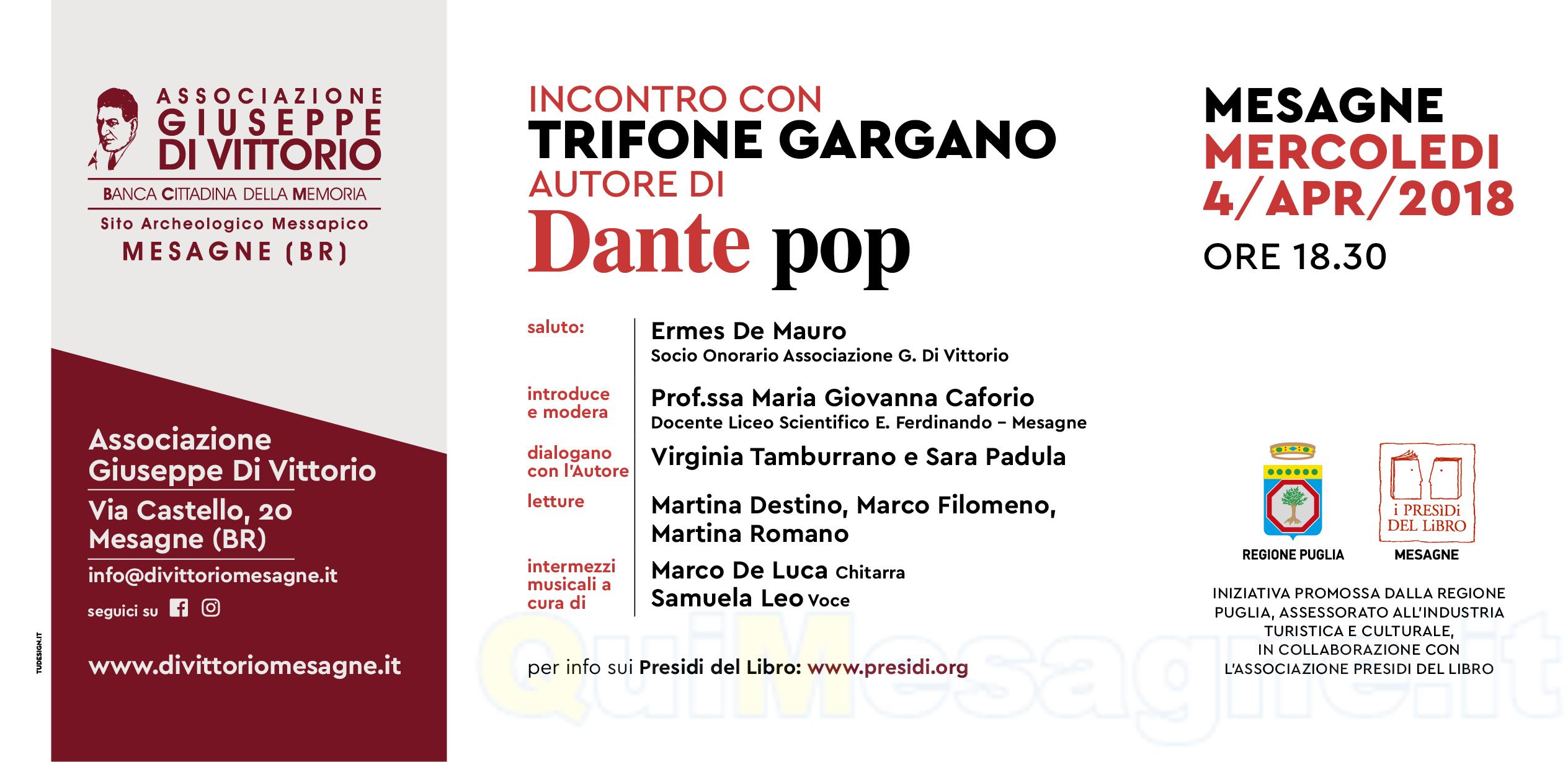 """Il 4 aprile alla """"Di Vittorio"""" c'è un particolare appuntamento con Dante"""