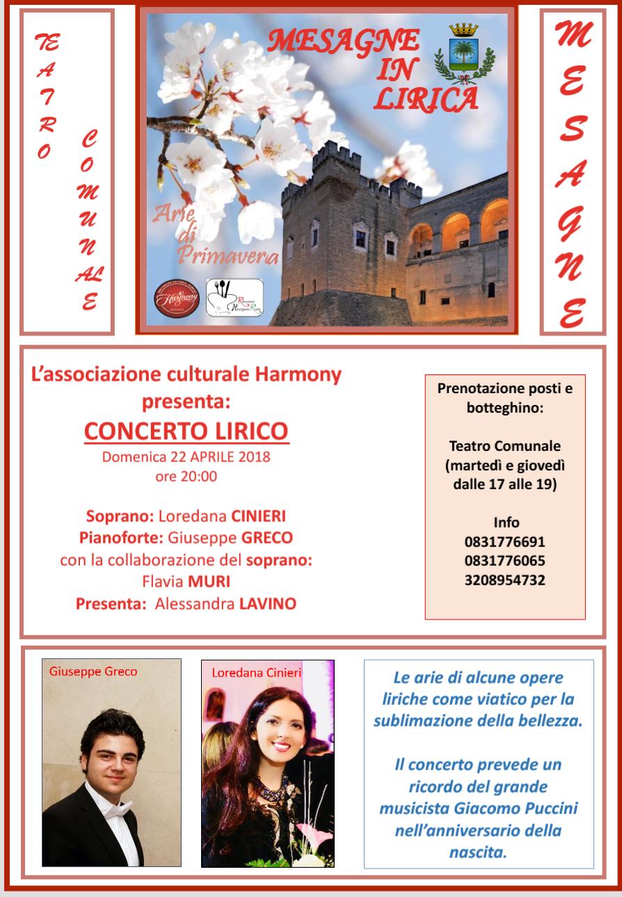 Domenica 22 aprile ultimo appuntamento con la musica lirica al Teatro Comunale di Mesagne