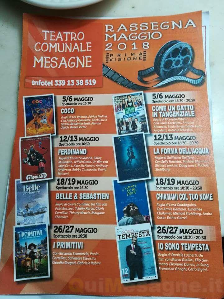 Teatro Comunale di Mesagne, ecco il programma della Rassegna Cinematografica Maggio 2018