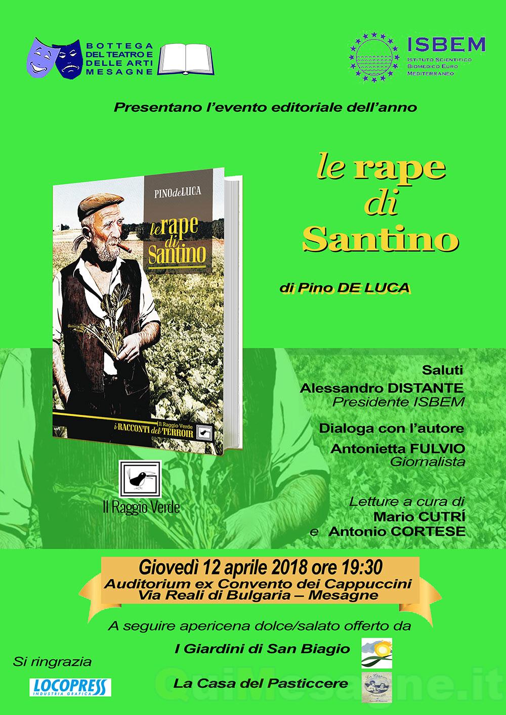 """Giovedì 12 aprile presentazione libro """"Le rape di Santino"""" di Pino De Luca"""