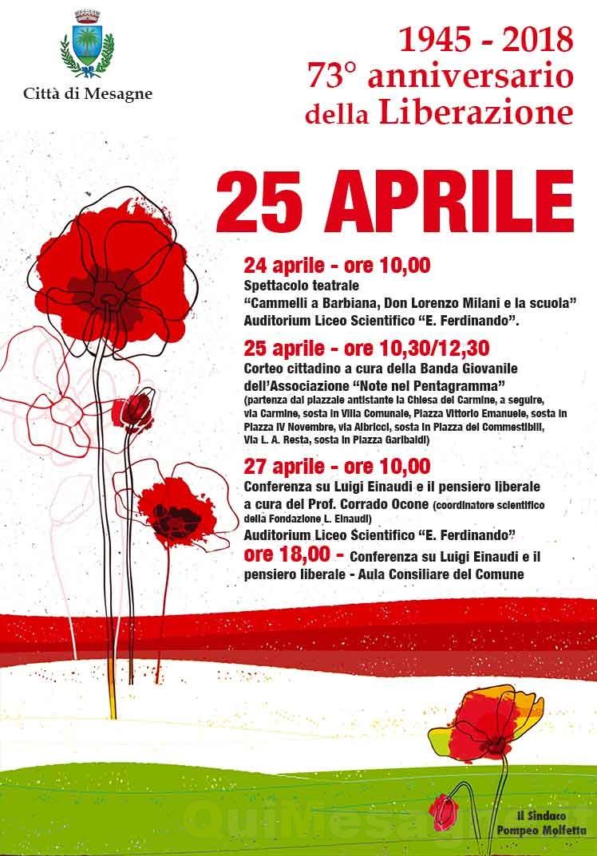 25 Aprile, il programma degli eventi