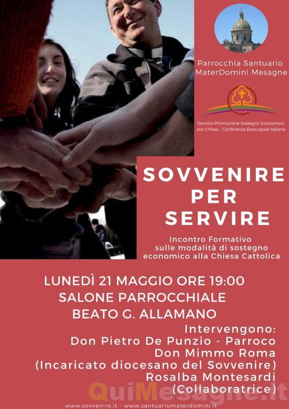 Sovvenire per Servire, lunedì 21 maggio a Mater Domini incontro formativo
