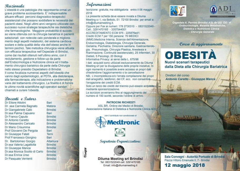 Obesità dalla dieta alla chirugia bariatrica presso l'Ospedale di Brindisi