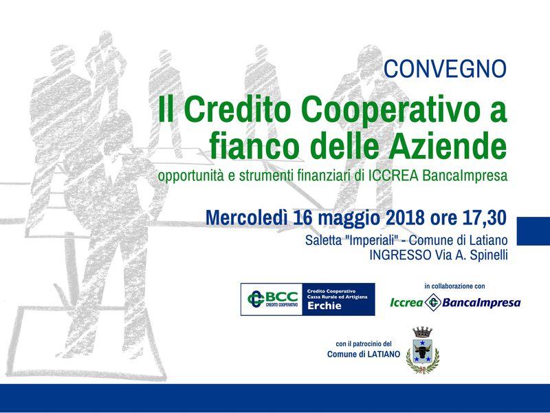 """A Latiano mercoledì 16 maggio convegno su """"Il credito Cooperativo al fianco delle aziende"""""""