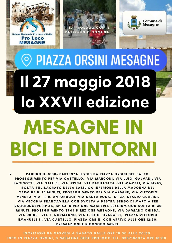 """Domenica 27 maggio c'è """"Mesagne e dintorni in bici"""", ecco come partecipare"""
